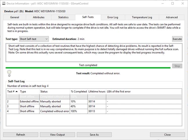 GSmartControl built-in HDD self-tests