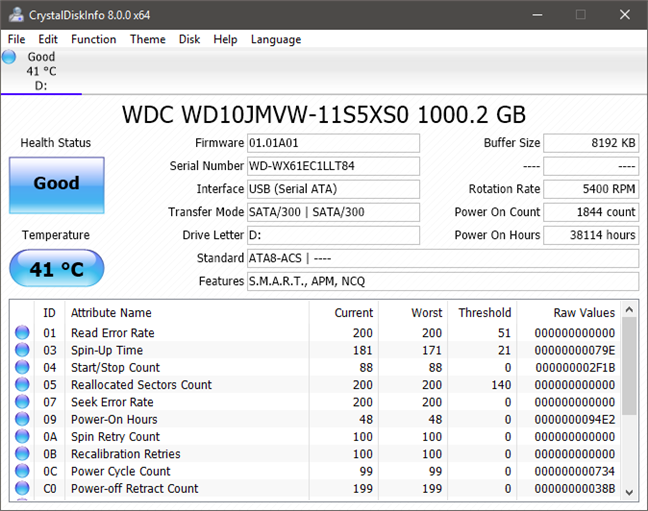 CrystalDiskInfo showing details about an HDD