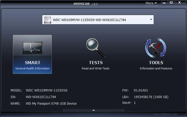 HDDScan main user interface