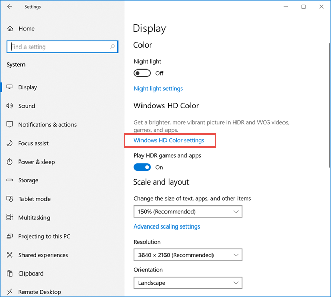 Click or tap Windows HD Color settings