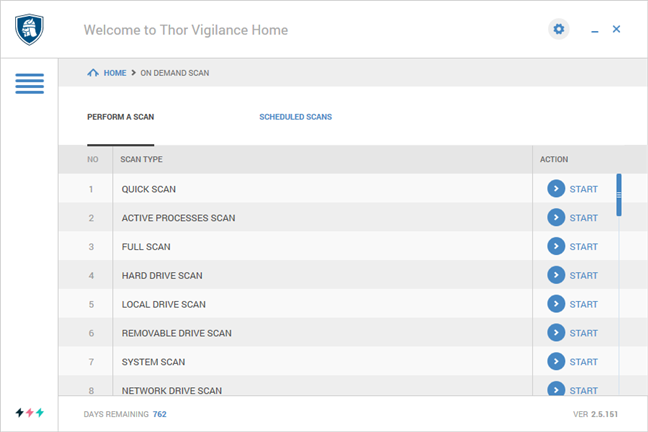 The antivirus scans that can be run with Thor Vigilance