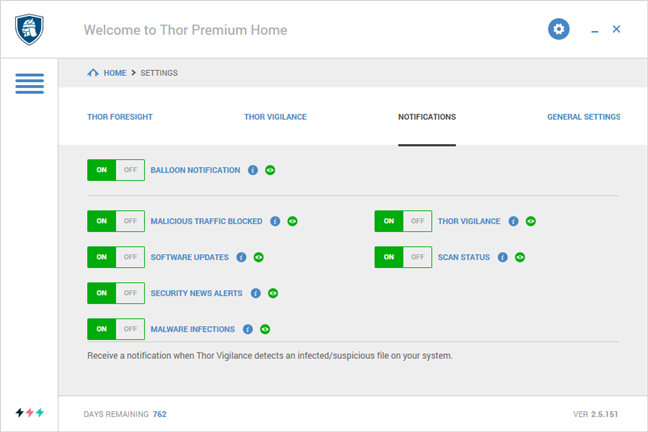 The Notification settings for Heimdal Thor Premium Home