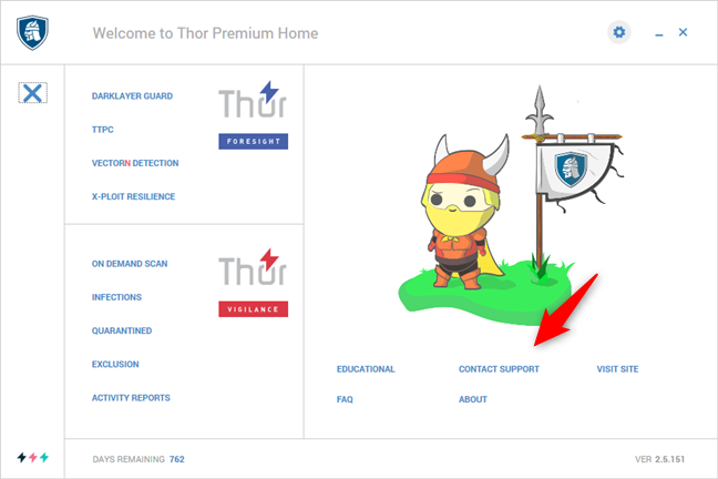 The support options available in Heimdal Thor Premium Home
