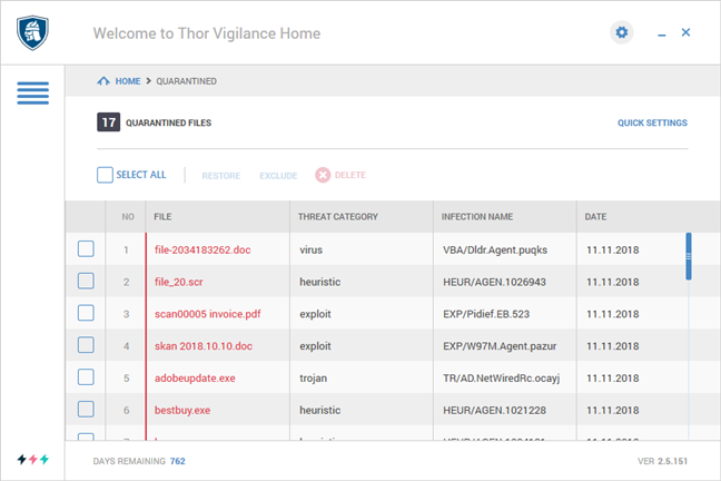 The files quarantined by Heimdal Thor Premium Home during a system-wide scan