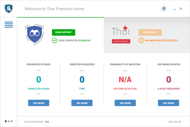 The user interface of Heimdal Thor Premium Home