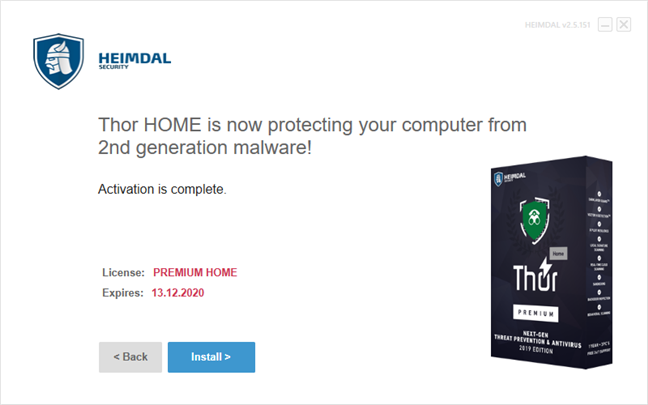 The end of the installation wizard for Heimdal Thor Premium Home