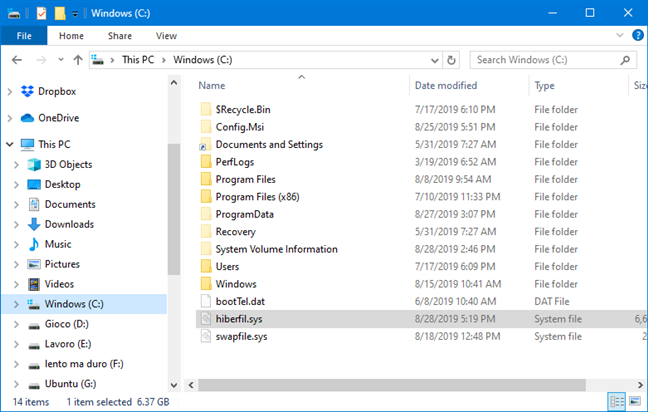 The hyberfil.sys file used by the Hibernation option