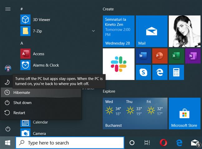 The Hibernate option in Windows 10's Power menu