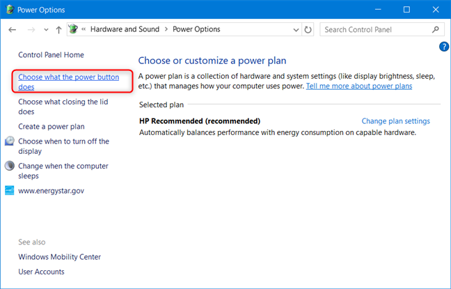 Control Panel - Click Choose what the power button does
