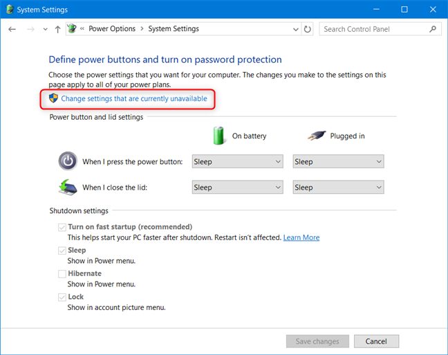 Control Panel - Click Change settings that are currently unavailable