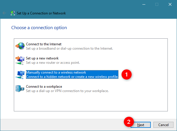 Manually connect to a wireless network