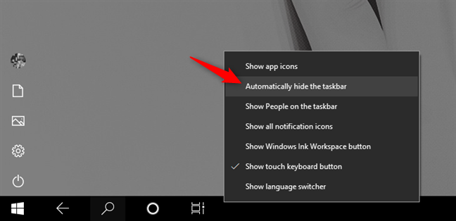 Automatically hide the taskbar on Windows 10 in tablet mode