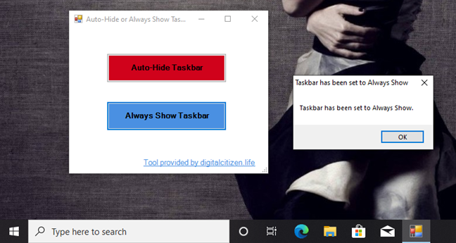 Always Show Taskbar with the TaskbarHide tool