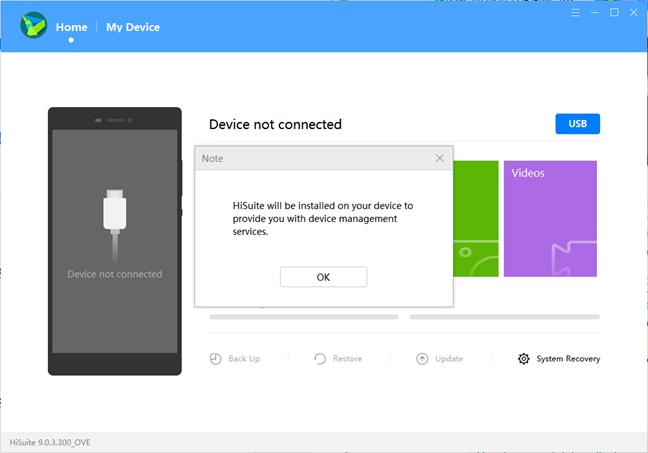 HiSuite installation message
