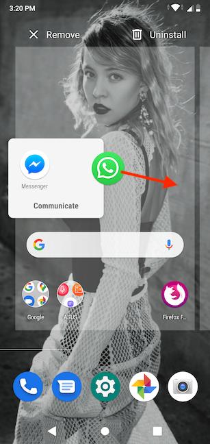 Arrastre y suelte el acceso directo para agregarlo a la pantalla de inicio