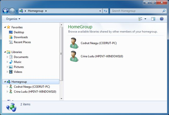 Windows, Homegroup