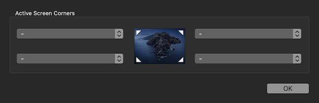 The Mac Hot Corners are inactive by default