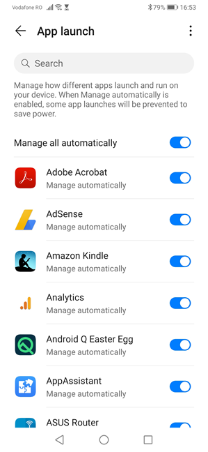 Managing how apps launch on your Huawei device