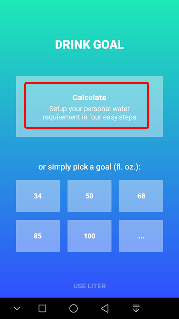 Calculate your water requirement in Hydro Coach