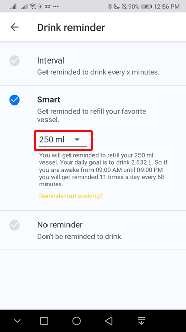 Set reminder in Hydro Coach based on the size of your water bottle