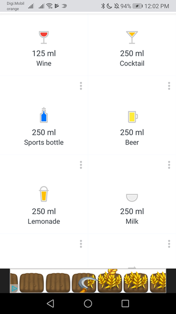 Entering drinks other than water in Hydro Coach with ads