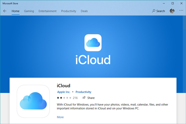 iCloud for Windows 10 in the Microsoft Store