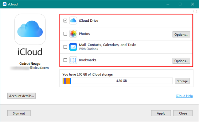 The features and services available in iCloud for Windows