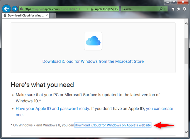 The iCloud for Windows 7 download link