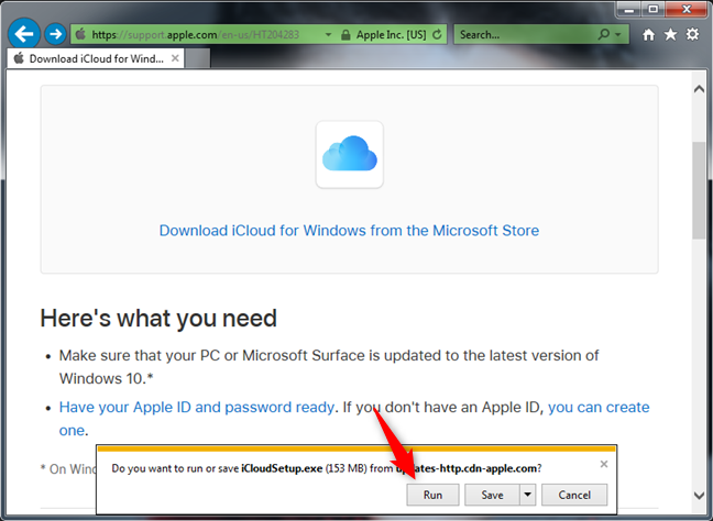Running the iCloud for Windows 7 installer