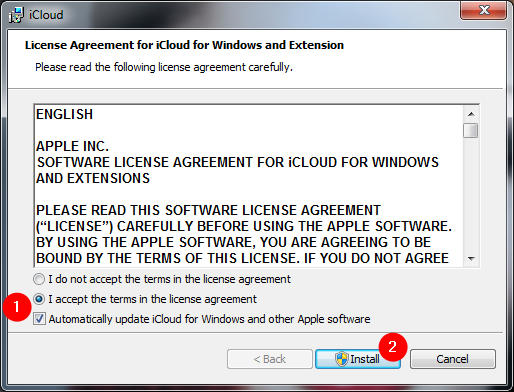 License terms and automatic updates setting for iCloud