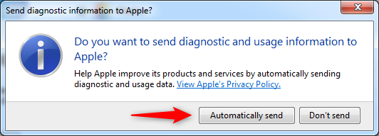 Choosing whether diagnostic and usage data are sent to Apple