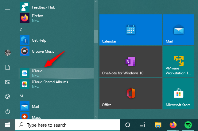 The iCloud shortcut from the Start Menu