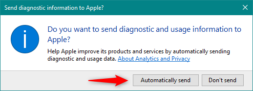 Choosing whether diagnostic and usage data is sent to Apple