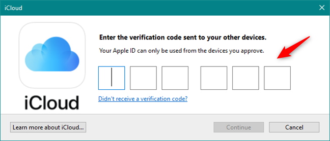 Entering the verification code for the Apple ID