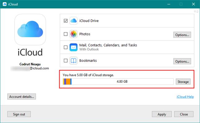 iCloud storage details
