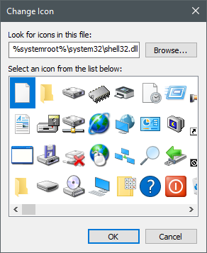 Icons stored in the shell32.dll file