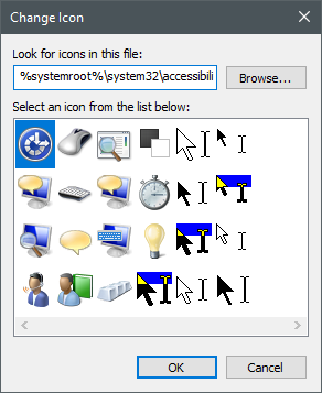 Icons stored in the accessibilitycpl.dll file