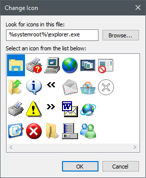 Icons stored in the explorer.exe file
