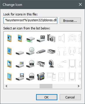 Icons stored in the ddores.dll file