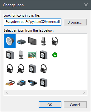 Icons stored in the mmres.dll file