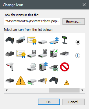 Icons stored in the setupapi.dll file