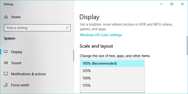 The scaling options available in Windows 10 Settings