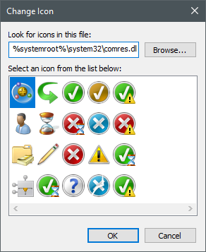 Icons stored in the comres.dll file