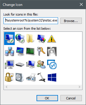 Icons stored in the mstsc.dll file