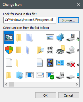 Icons stored in the imageres.dll file