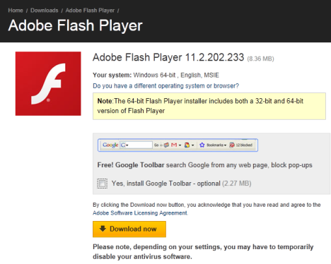 Internet Explorer 64 bit - Adobe Flash Player