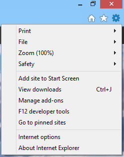 Internet Explorer 10, user interface, buttons, settings, tools