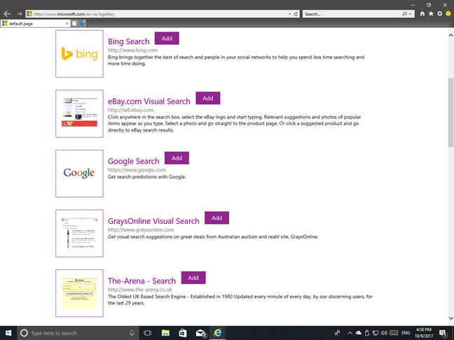 Internet Explorer, search engine