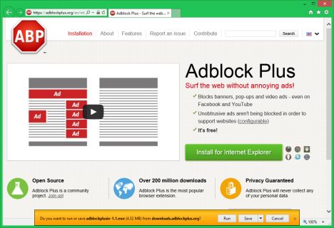 Internet Explorer, Adblock Plus, ads, lists, filters