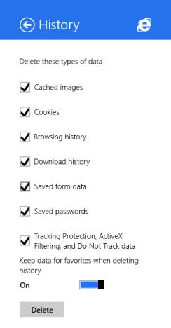Internet Explorer, Windows 8.1, app, delete, browsing history, data